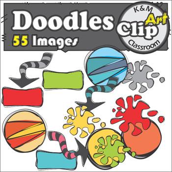 Doodle Clip Art Bundle in Rainbow Colors