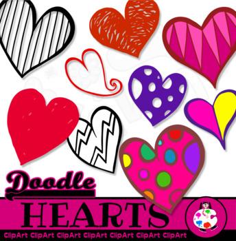Doodle Clip Art Heart Shapes