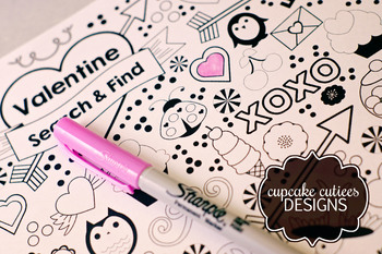 Doodle Coloring  Valentine Card Favor Hand out Classroom Party Favor Printable
