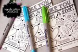 Doodle Coloring  Valentine Card Favor Hand out Classroom P