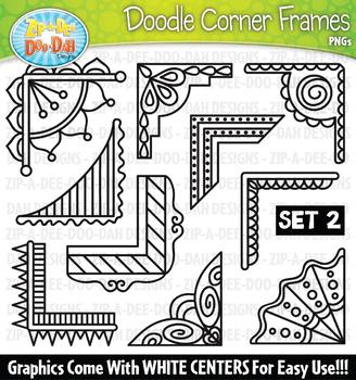 Doodle Corner Frames Clipart Set 2 {Zip-A-Dee-Doo-Dah Designs}