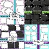 Doodle Cover Frames Bundle ~ 100 Frames in White, Transparent, and Chalkboard