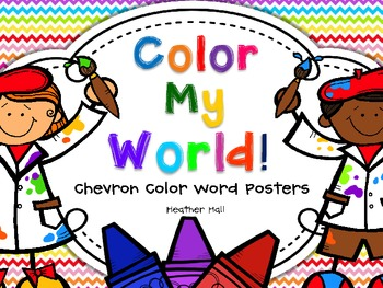 Color Word Posters With Chevron Background