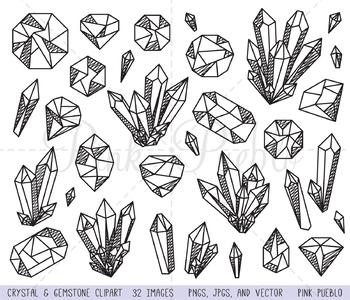 Doodle Crystal Clipart, Crystal Clip Art, Gemstone Clipart, Gemstone Clip Art