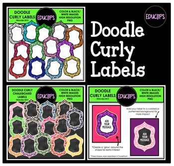 Doodle Curly Labels Clip Art Bundle {Educlips Clipart}