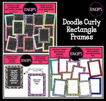 Doodle Curly Rectangle Frames Clip Art Bundle {Educlips Clipart}