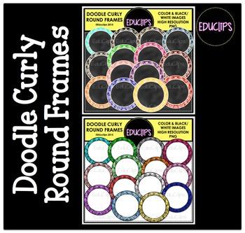Doodle Curly Round Frames Clip Art Bundle {Educlips Clipart}
