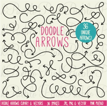Doodle Curved Arrows Clipart Clip Art - Commercial and Personal Use