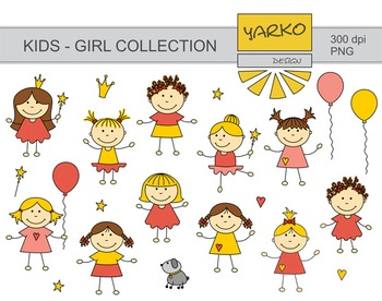 Doodle, Cute Kids Digital Clip Art, Baby Girl Digital Clip Art, Little Princess