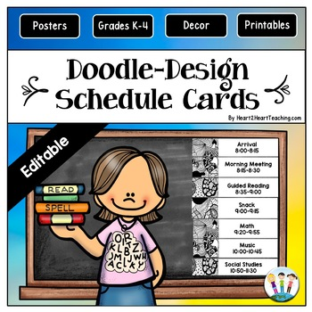 Doodle Designs Daily Schedule Cards {EDITABLE}