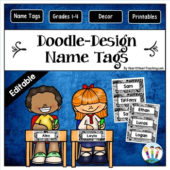 Doodle Designs Name Tags and Desk Plates {EDITABLE}
