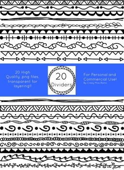 Doodle Divider 20 Pack for Personal and Commercial Use