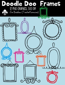 Doodle Doo Frames Clipart ~ Commercial Use OK ~ Borders