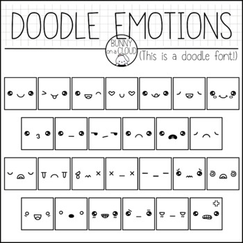 Doodle Emotions by Bunny On A Cloud (This is a doodle font!)