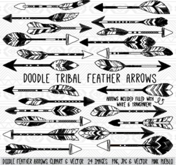 Doodle Feather Arrows Clipart Clip Art Vectors - Commercial and Personal