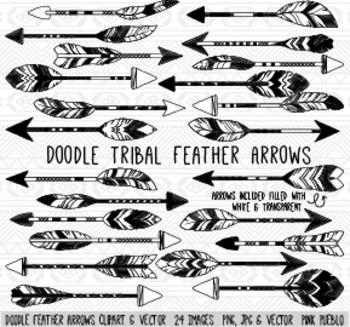 Doodle Feather Arrows Clipart Clip Art Vectors - Commercia