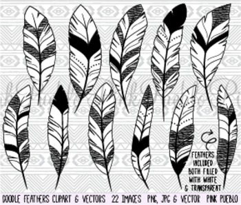 Doodle Feather Silhouettes Clipart Clip Art - Commercial and Personal Use