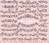 Doodle Flourishes and Swirls Clipart Clip Art - Commercial and Personal Use