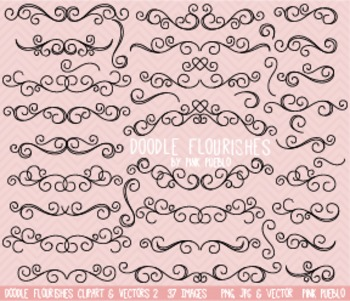 Doodle Flourishes and Swirls Clipart Clip Art - Commercial