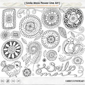 Doodle Flower ClipArt, Hand Drawn Flower Line Art, Spring Bird
