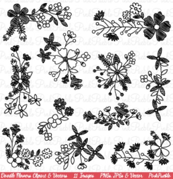 Doodle Flowers Clip Art - Commercial and Personal Use