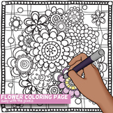 Doodle Flowers Coloring Page - PDF and JPG Page to Color