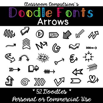 Doodle Fonts Arrows (for Personal or Commercial Use)