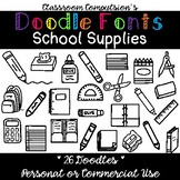 Doodle Fonts School Supplies (for Personal or Commercial Use)