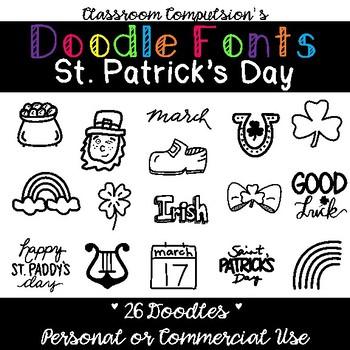 Doodle Fonts St. Patrick's Day (for Personal or Commercial Use)