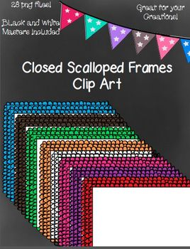 Closed Scalloped Frames- 28 png files- Transparent, White, and Color Fill