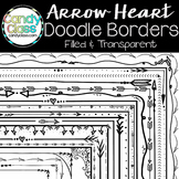 Doodle Borders - Arrow Heart Theme {Filled & Transparent}