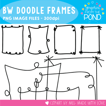 Doodle Frames / Borders Black - Clipart Frames for Teaching Files