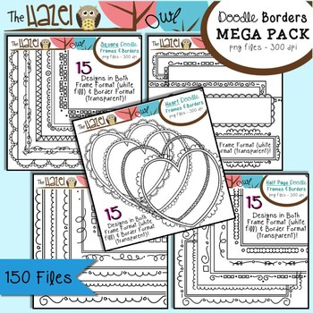 Doodle Frames & Borders MEGA Pack {Save $7 by Purchasing 5 Sets in 1!}