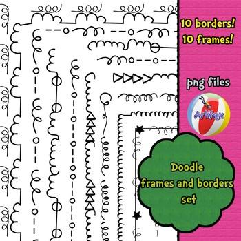 BORDERS. Doodle Frames & Borders Set: 20 items