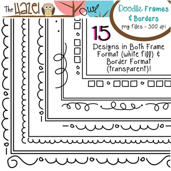 Doodle Frames & Borders Set: Graphics for Teachers