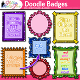 Doodle Frame Clip Art | Rainbow Glitter Labels for Worksheets and Resources