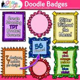 Doodle Frame Clip Art {Rainbow Glitter Labels for Workshee