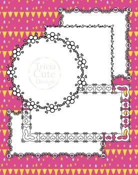 Frames Clip Art Borders Headers Corners Text Dividers, hearts and circles design