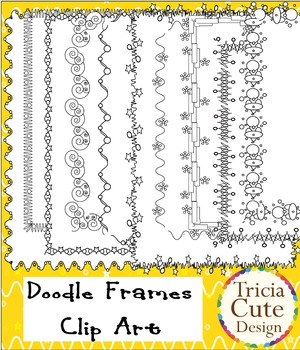 Borders Clip Art frames – in wavy lines, stars and circles design (Black Line)