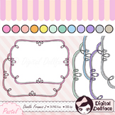 Doodle Frames Clipart / Pastel, Curly Frames / Labels, Digital Clip Art