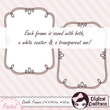 Doodle Frames Clipart / Pastel, Curly Frames / Labels, Digital Clip Art