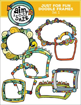 doodle frames just for fun color and lined set 4 by aim less daze People for Fun doodle frames just for fun color and lined set 4