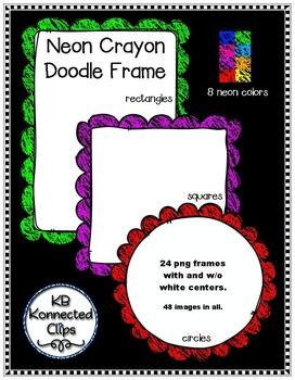 Doodle Frames Trio (Neon Crayons)