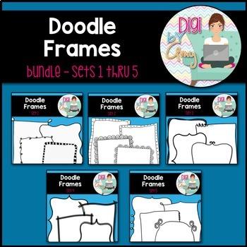 Doodle Frames and Borders clipart - Bundle