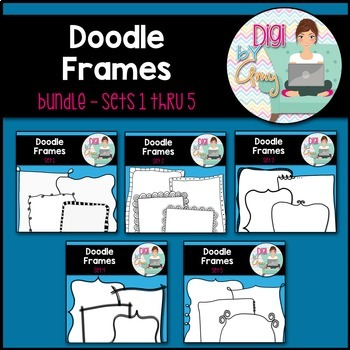 Doodle Frames and Borders Clip Art Bundle