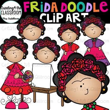 Frida Doodle Clip Art {Frida Kahlo Clip Art}