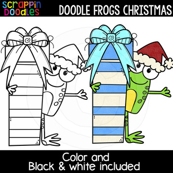 Doodle Frogs Christmas Clipart {Scrappin Doodles Clipart}