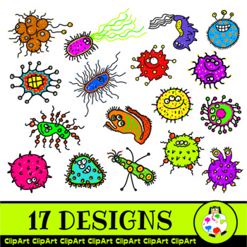 Doodle Germs Clip Art Medical Cartoons