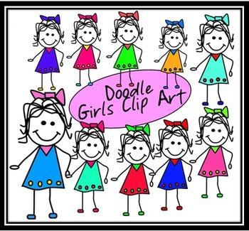 Doodle Girls in Dresses Clip Art