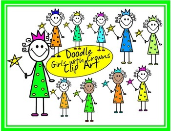 Doodle Girls with Crowns Clip Art